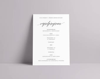 Wedding Ceremony Program in Swedish/Vigselprogram - Waverly Collection (A5/148x210mm)