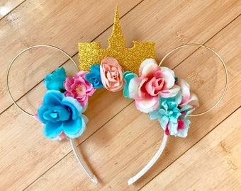 Sleeping Beauty/Aurora Minnie Mouse Floral Wire Ears