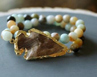 Druzy Beaded Double Wrap Bracelet // Geode Druzy Bracelet // Stone Bead Bracelet