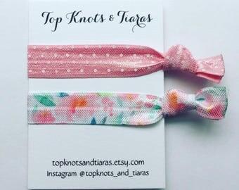 Light Pink Floral Elastic Hair Ties / Set of 2