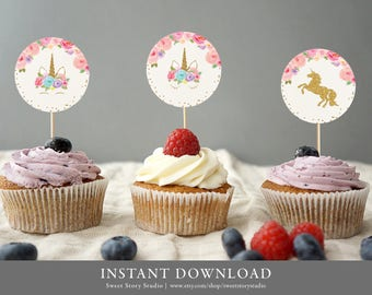 Instant Download | Dreaming Unicorn Party Circle | DIY Printable Digital File | Cupcake Toppers, Stickers, Birthday, Baby Shower | DC002