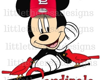 Mickey or Minnie St. Louis Cardinals Digital Image,Iron On,Diy