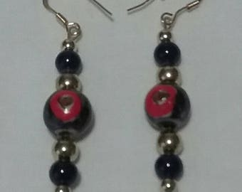 Blue and Gold Earrings (#008)