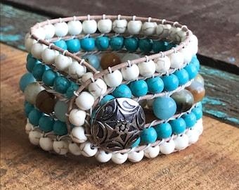 Handmade five row beaded cuff bracelet.