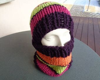 Hat cowl with 40% wool 60% acrylic teen or women