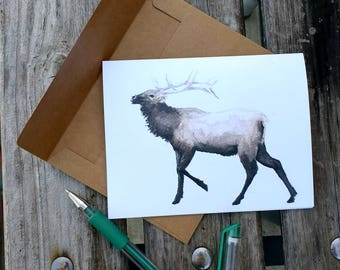 American Woodland Greeting Card: Elk