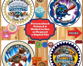 Skylanders Birthday Stickers Round Favor Bag Stickers Candy Stickers 1 sheet Personalized Custom Made