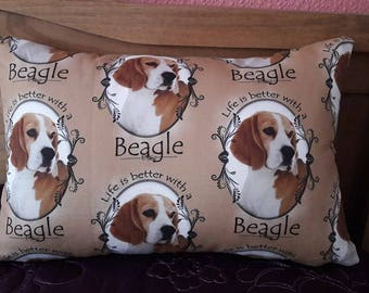 "SALE !! 17"" x 11.5"" Beagle Print Scatter Cushion/Throw Pillow ""Life is Better with a Beagle"", Eco friendly print process, Hypoallergenic"