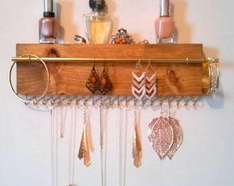Jewelry organizer, wall necklace holder, earrings display, bracelets holder