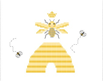Cross Stitch Pattern Queen Bee Hive