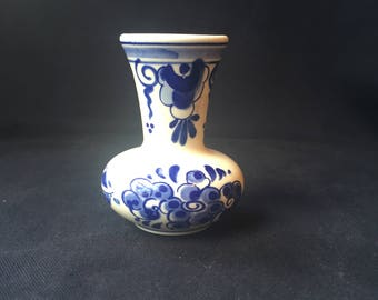 Vintage Blue Delft Hand Painted Bud Miniature Glass Vase