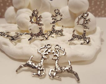 3D Antiqued Silver Reindeer