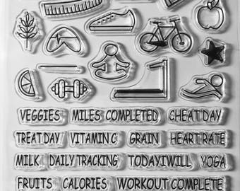 Exercise Stamps, Health Stamps, Icon Stamp, Planner Stamps, Clear Stamps, Rubber Cling Stamps