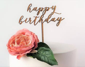 Cake Topper 'Happy Birthday' Celebration/Laser Cut/Calligraphy Script