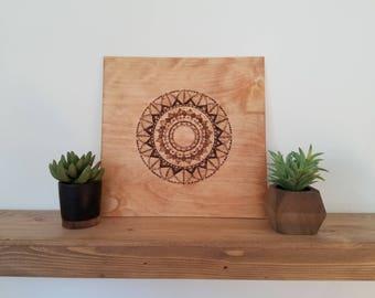 Mandala ~ Custom Wood Burned Boho Wall Art for a Cause