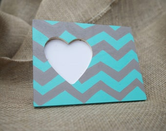 Turquoise and Gray/Brown Chevron Hand Painted Heart Frame