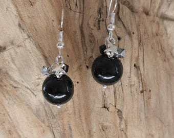 Earrings with black and silver beads (BO113)