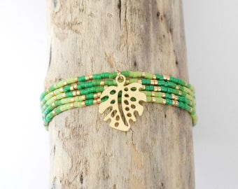 Bracelet Bohemian chic multi-turn very fine green Miyuki seed beads, bright green and gold 24 k, exotic philodendron leaves