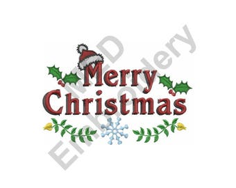 Merry Christmas - Machine Embroidery Design, Christmas - Machine Embroidery Design