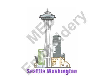 Washington - Machine Embroidery Design, Seattle Washington
