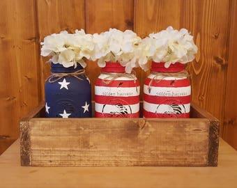 4th of July Mason Jars. Patriotic decor. Painted mason jars. Planter box. Rustic decor. Mason jar centerpiece.