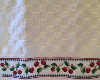 Cross stitched kitchen towel.