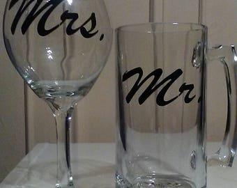 Mr. & Mrs. Mug/Wine Glass