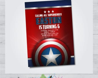 Captain America Invitation - Captain America Invite - Captain America Birthday Party - Personalized - Captain America Printable