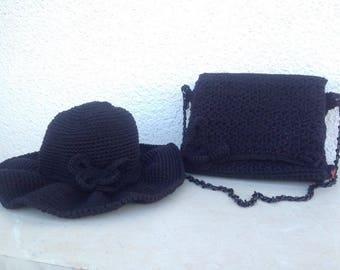 Handmade bag and hat,gift for women,women's handmade-purse and hat,crochet bag and hat,knitted bag and hat,cotton bag and hat
