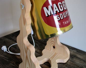 Table lamp of scaffolding wood and look of Maggi, handmade
