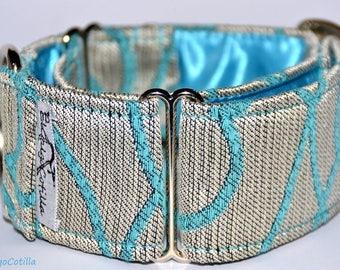 Silver - Martingale collar for galgos, greyhound, dogs, adjustable, 100% fat cotton. El Galgo Cotilla
