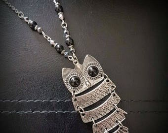 Sectional OWL pendant with hand-beaded chain segment necklace. chain/silver/black sandalwood/crystal/faux-hematite/teacher gift