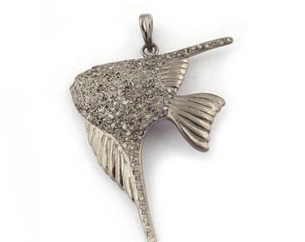 50% off 1 Pc Pave Diamond Angel Fish Pendant - 925 Sterling Silver - Diamond Antique Finish Pendant - Angel Fish Pendant 51mmx34mm PDJ032