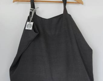 Large linen market bag/tote bag in graphite, rustic linen