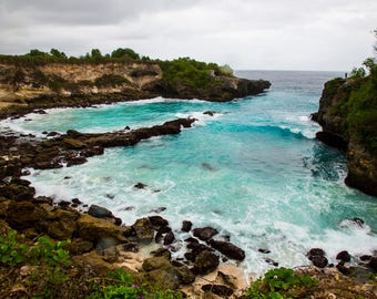 The Blue Lagoon Bali Travel Photo, Large Wall Decor, Landscape Photography, Contemporary Art, Photos on Wood