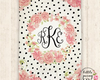 Monogram Personalized Floral Print Blanket - Super Plush Minky Blanket with Watercolor Flower and Dot  - 30x40, 50x60, 60x80