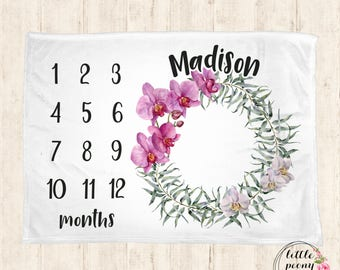 Baby Monthly Milestone Blanket - Orchid Floral Receiving Blanket Birthday Gift Photo Prop Milestone Blanket - 30x40, 50x60, 60x80