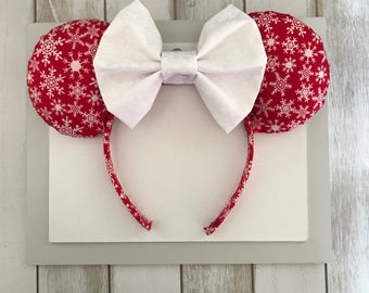 Christmas Mickey Ears . Snowflake Mickey Ears. Red and White Snowflake Ears