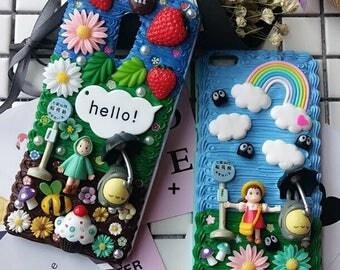100% Handmade Totoro Inspired Decoden Whipped Cream Phone Case, Kawaii 3D Anime Cartoon IPhone plus Case, Samsung Galaxy Phone Cover