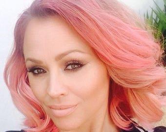 "Pink Peruvian Human Hair Wefts Bundle 300g + Closure Silky Straight  16"" - 24"""