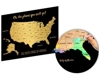Traveling Blues United States Watercolor Scratch Map - Scratch off us map