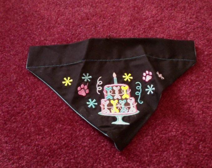 Embroidered Dog Bandana, Birthday Dog Birthday Scarf, Dog Bandana, Doggie Celebration, Dog Clothes, Dog Scarf, Black Dog Scarf, Pet Costume