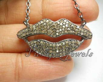"""Fashion statement pave diamond 40mm lips charm pendant in sterling silver with 18"""" inches sterling silver link chain"""