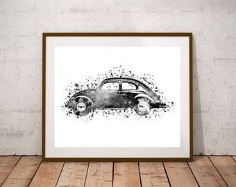 Black Volkswagen Beetle Printable Art Print