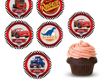 Cars Cupcake topper, Lightning McQueen, Cars Party, Cars Birthday, cars cake topper, Cars Cake birthday, Cars caketoppers