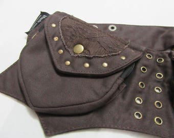 HIP BELT Utility Belt Pixie Pocket Brown Lace Festival Pocket Belt Psy Trance Bumbag Utility Belt hip Belt