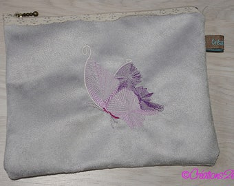 White suede embroidered Butterfly pouch/clutch