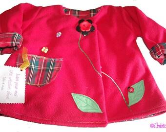 Child/baby red fleece reversible tartan coat, size 18 months