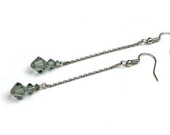 Black Diamond Chain Earrings, Drop Earrings, Drop Earrings, Swarovski Earrings