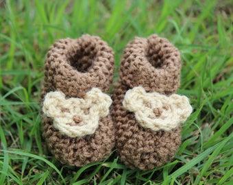 Knitted Bear Booties (Size newborn - 6 months)